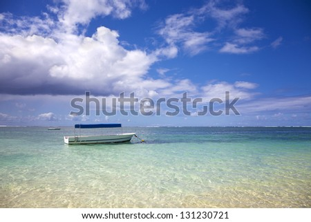 Mauritius beach view to the Indian Ocean. Belle Mare. - stock photo