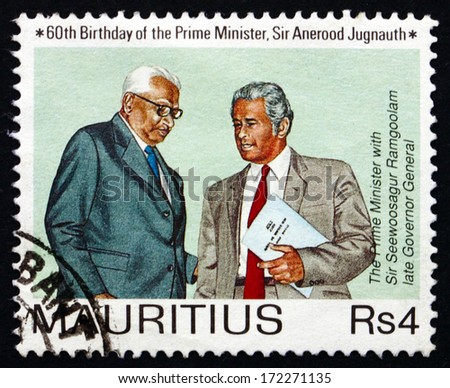 MAURITIUS - CIRCA 1990: a stamp printed in the Mauritius shows Prime Minister Jugnauth and Governor-General Ramgoolam, circa 1990
