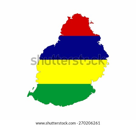 mauritius country flag map shape national symbol - stock photo