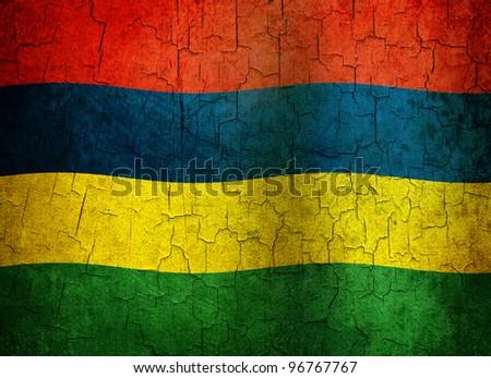 Mauritius flag on a cracked grunge background - stock photo
