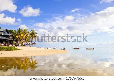 Mauritius island beach, indian ocean - stock photo