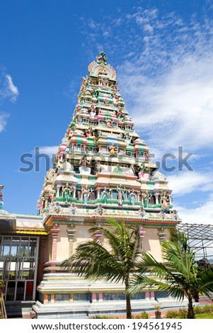 MAURITIUS-JANUARY 04: Architecture details of traditional Hindu temple on January 04, 2014 in Mauritius island. Hinduism is a major religion in Mauritius, representing 49% of the total population