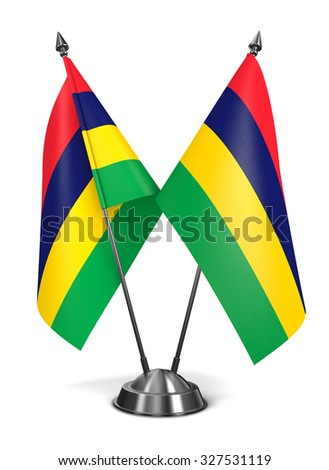 Mauritius - Miniature Flags Isolated on White Background. - stock photo