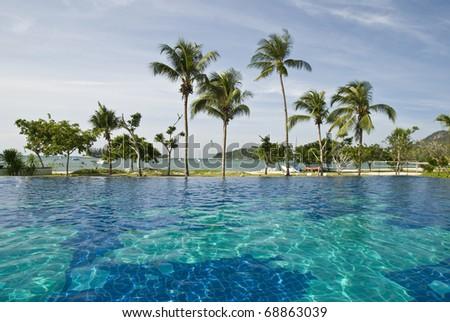 Mauritius pool and beach - stock photo