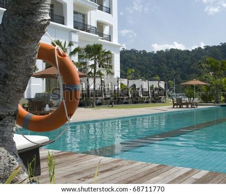 Mauritius pool and hotel - stock photo