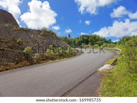 Mauritius. The road at the hill and tropical plants - stock photo
