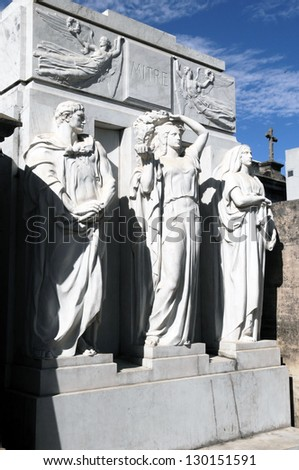 Mausoleum at Cementerio de La Recoleta, Recoleta, Buenos Aires, Argentina - stock photo