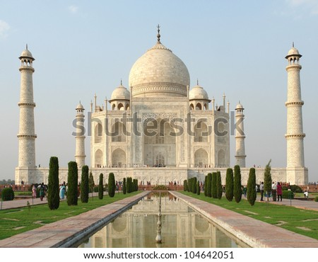 mausoleum named Taj Mahal in Agra, India at evening time