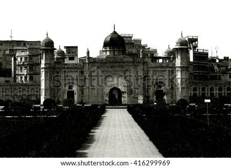 Mausoleum of Bibipari in Lalbagh fort, Dhaka, Bangladesh - Black Night Effect - stock photo