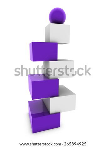 mauve sphere on cubes - stock photo