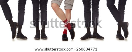 Maverick. Man leg in suit and colorful socks, isolated on white - stock photo