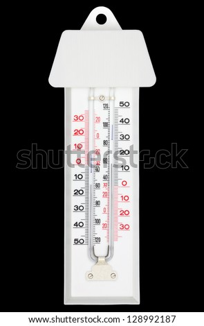 Maxima minima thermometer with shade isolated on black with clipping path