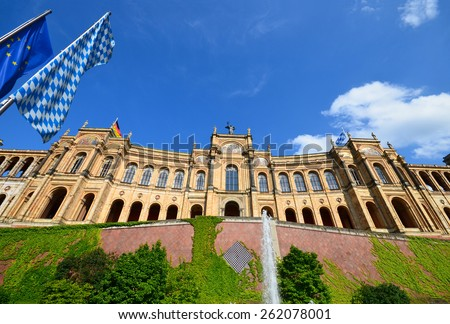 Maximilianeum - Bavarian state parliament with flags in Munich, Bavaria Germany - stock photo