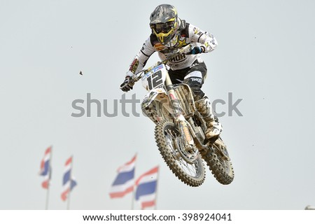 Maximillian Nagl Team Rockstar Energy Husqvarna in competes during  Race1 MXGP class the FIM Motocross Wolrd Championship Grand Prix of Thailand on March 06,2016in Thailand.  - stock photo