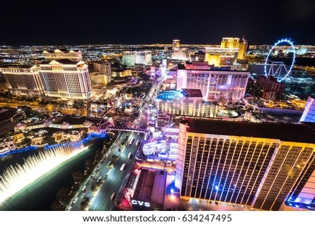 May 4 2017 : Aerial view of Las Vegas strip at night. May 4 2017 Las Vegas Nevada