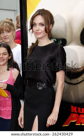 "May 22, 2011. Angelina Jolie at the Los Angeles premiere of ""Kung Fu Panda 2"" held at the Grauman's Chinese Theater, Los Angeles.  - stock photo"