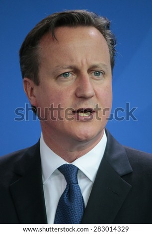 MAY 29, 2015 - BERLIN: British Prime Minister David Cameron at a press conference after a meeting with the German Chancellor in the Federal Chancellery in Berlin.