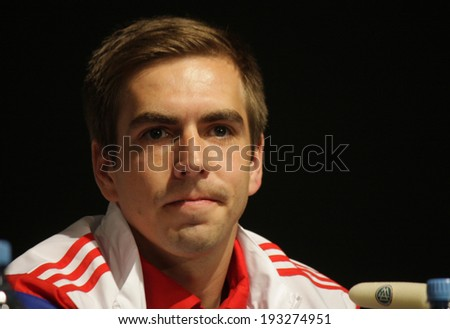 MAY 16, 2014 - BERLIN: the captain of the football team FC Bayern Muenchen, Philipp Lahm at a press conference before the final game of the German football cup against Borussia Dortmund in Berlin.