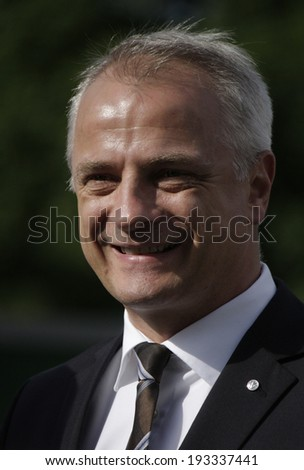 "MAY 16, 2014 - BERLIN: Thomas Zahn (Volkswagen) at the presentation of the ""Walk of Fame"" of soccer stars who decided games of the German soccer cup in the Olympic Stadium of Berlin."