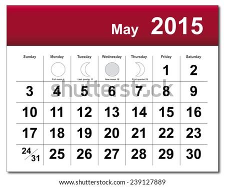 May 2015 calendar. - stock photo
