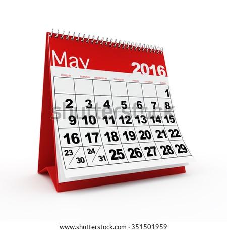 May 2016 calendar - stock photo