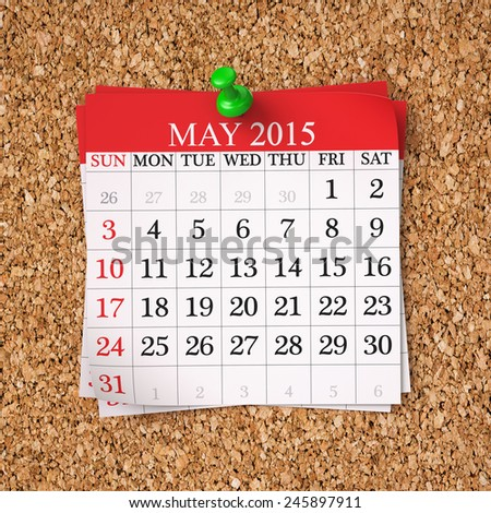 May 2015  Calendar on cork board , 3d render - stock photo