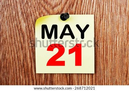 May 21 Calendar. Part of a set - stock photo