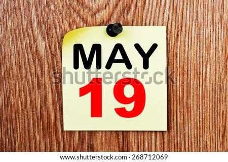 May 19 Calendar. Part of a set - stock photo