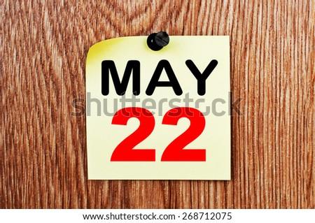 May 22 Calendar. Part of a set - stock photo