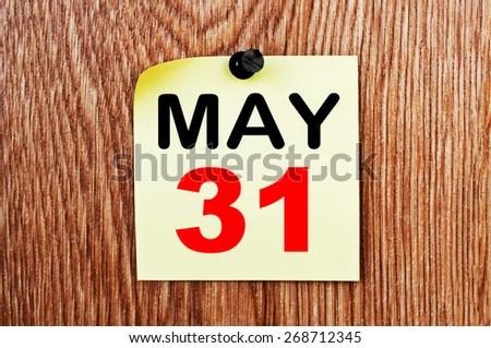 May 31 Calendar. Part of a set - stock photo