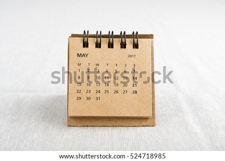 May. Calendar sheet. Two thousand seventeen year calendar on bright background.