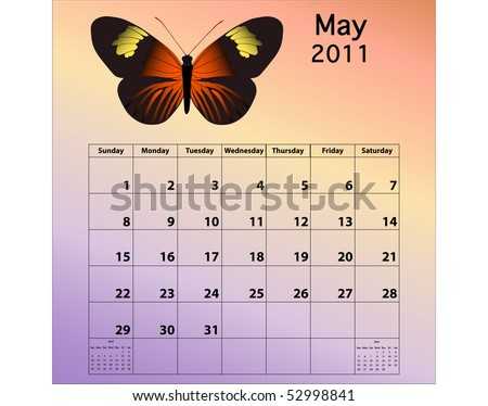 May 2011 calendar with butterfly - stock photo