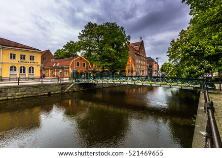 May 22, 2016: Canal on the old town of Uppsala, Sweden