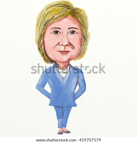MAY 13, 2016: Caricature illustration of Democrat presidential candidate Hillary Clinton facing front on isolated background.