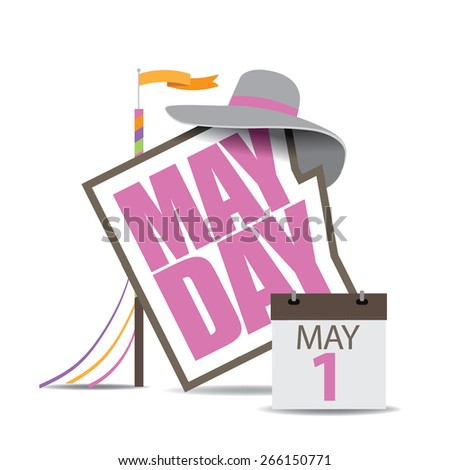 May Day icon with maypole and calendar. Royalty free stock illustration for ad, promotion, poster, flier, blog, article, social media, marketing - stock photo