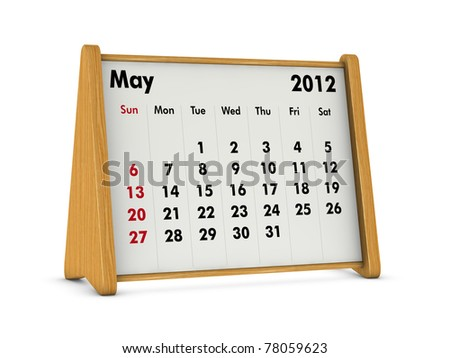 may 2012 elegant wooden calendar on white background (3d render)