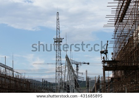 MAY 20, 2014 : HONGSA - LAO PDR : Coal fire Lignite power plant and 500 kV switchgear under-construction in Hongsa district, Lao PDR.