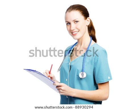 May I help you? Pretty female doctor smiling to you. - stock photo