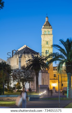 May 2013 - Italy - Apulia - Barletta, the Cathedral, view from the park of the castle at dusk