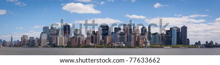 may 2011. Manhattan, lower New York financial offices(downtown) over Hudson river panorama from Liberty Island. One World Trade Center building under construction - stock photo