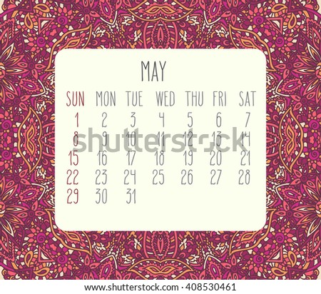 May 2016 monthly calendar over lacy doodle hand drawn background, week starting from Sunday. - stock photo