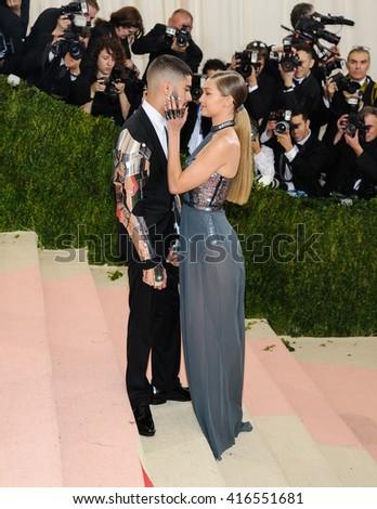 May 2, 2016 - New York, New York, USA - Zayn Malik and Gigi Hadid arrive at the Metropolitan Museum of Art Costume Institute Gala, Manus x Machina: Fashion in the Age of Technology - stock photo