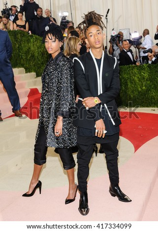 May 2, 2016 - New York, New York - Willow Smith and Jaden Smith attend the Metropolitan Museum of Art Costume Institute Gala, Manus x Machina: Fashion in an Age of Technology - stock photo