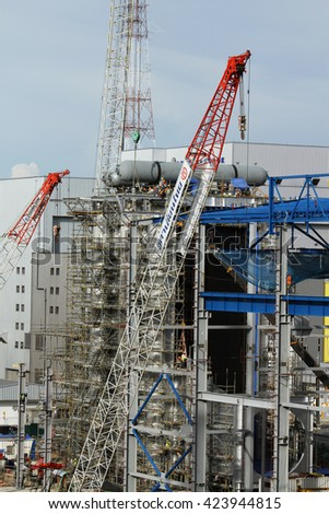 MAY 28, 2014 ; NONTHABURI - THAILAND : Construction of EGAT's North Bangkok gas combine cycle power plant 800 MW.