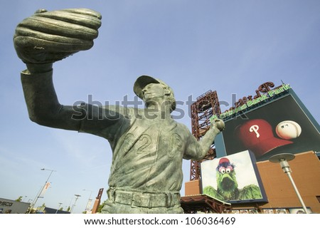 MAY 2007 - Statue of Steve Carlton created by sculptor Zenos Frudakis at Citizens Bank Park, Philadelphia, PA. - stock photo