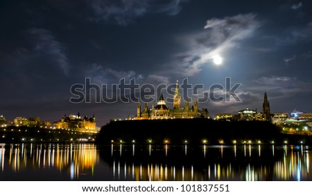 May 5, 2012: Super moon over the canadian Parliament at night. - stock photo