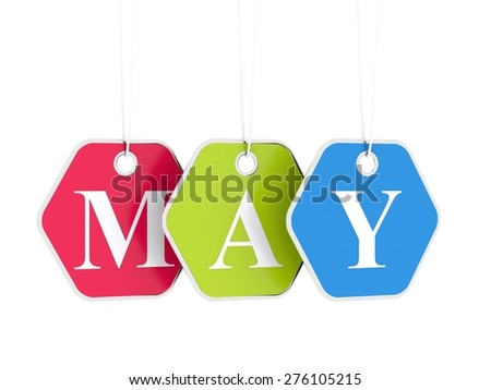 May tag on colored hanging labels. May discounts - stock photo
