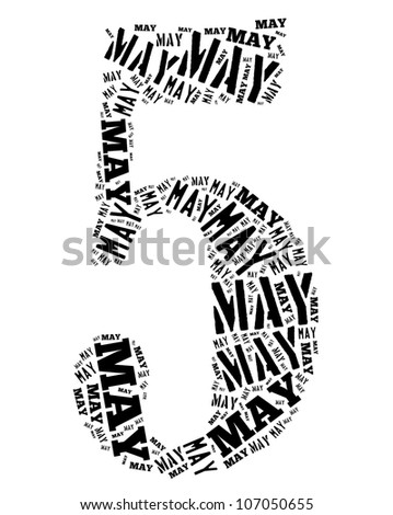 May text graphics composed in number 5 on white background - stock photo