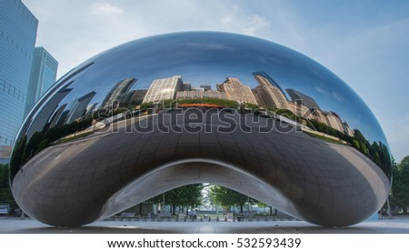 May 26th, 2016: Chicago, United States. Chicago Skyline Reflected in the Bean in Early Summer