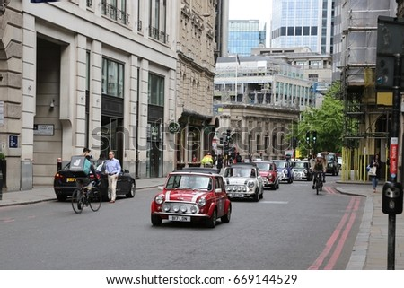May 20th 2017. The London to Brighton Mini Run passes through London's banking district